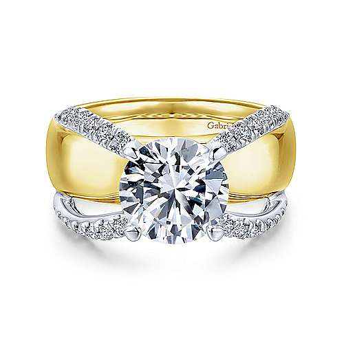 Gabriel - Clark 18k Yellow And White Gold Round Split Shank Engagement Ring