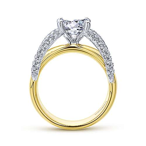Clark 18k Yellow And White Gold Round Split Shank Engagement Ring angle 2