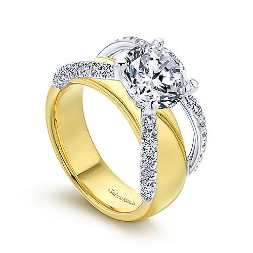 Clark 18k Yellow And White Gold Round Split Shank Engagement Ring angle 3