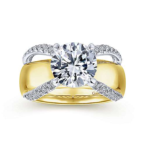 Clark 18k Yellow And White Gold Round Split Shank Engagement Ring angle 5