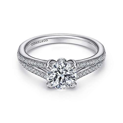 Gabriel - Clavel 18k White Gold Round Split Shank Engagement Ring