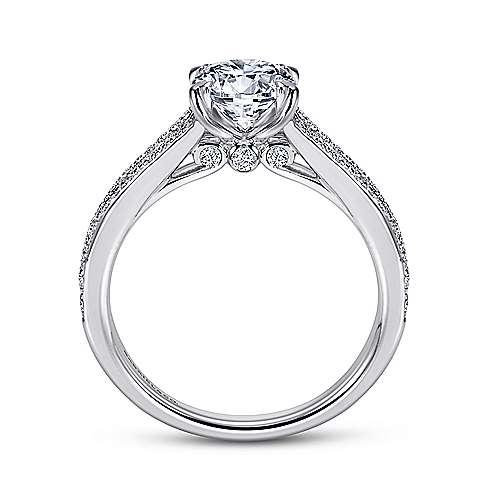 Clavel 18k White Gold Round Split Shank Engagement Ring angle 2