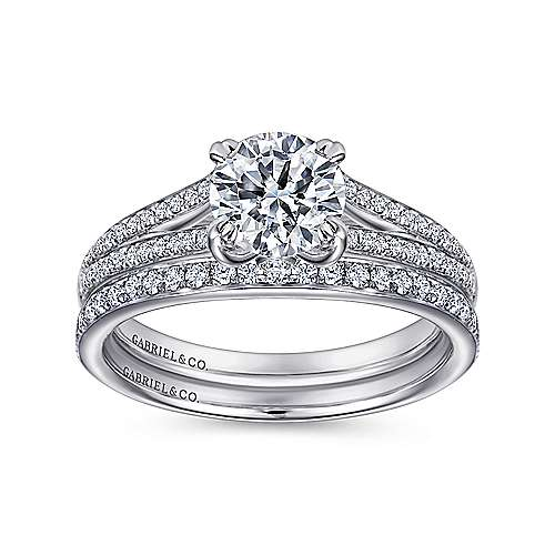 Clavel 18k White Gold Round Split Shank Engagement Ring angle 4
