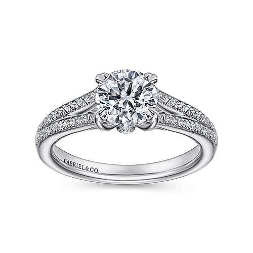 Clavel 18k White Gold Round Split Shank Engagement Ring angle 5