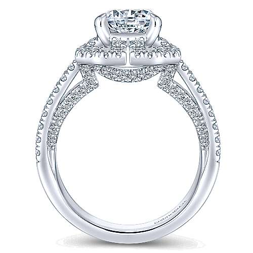 Clayton 14k White Gold Round Halo Engagement Ring angle 2