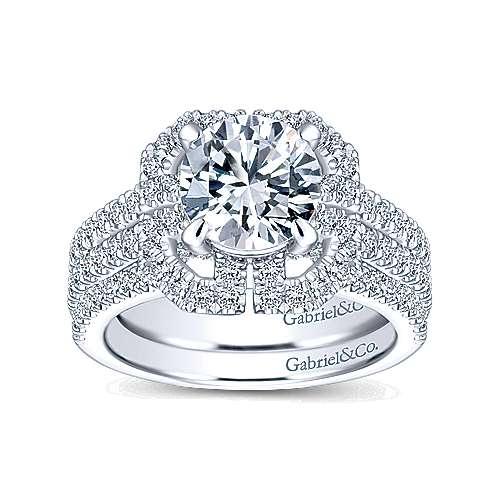 Clayton 14k White Gold Round Halo Engagement Ring angle 4