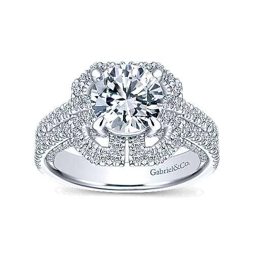 Clayton 14k White Gold Round Halo Engagement Ring angle 5