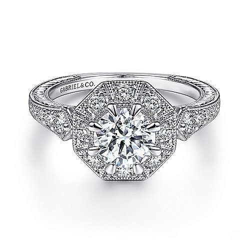Cleary 14k White Gold Round Halo Engagement Ring