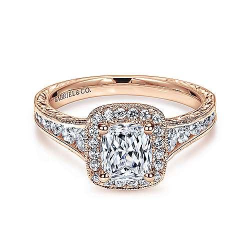 Gabriel - Clementine 14k Pink Gold Cushion Cut Halo Engagement Ring