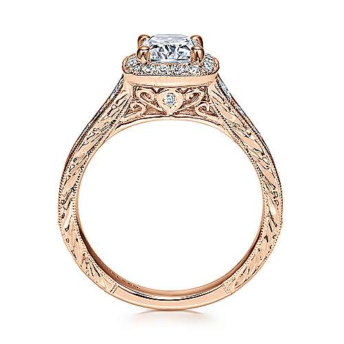 Clementine 14k Rose Gold Cushion Cut Halo Engagement Ring angle 2
