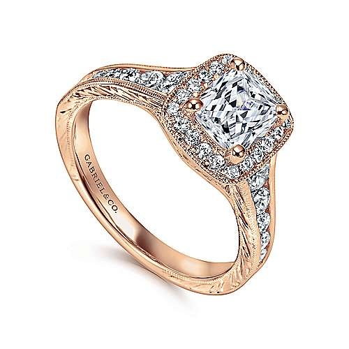 Clementine 14k Rose Gold Cushion Cut Halo Engagement Ring angle 3
