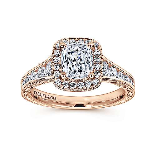 Clementine 14k Rose Gold Cushion Cut Halo Engagement Ring angle 5