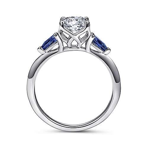 Cleo 18k White Gold Round 3 Stones Engagement Ring angle 2