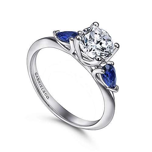 Cleo 18k White Gold Round 3 Stones Engagement Ring angle 3
