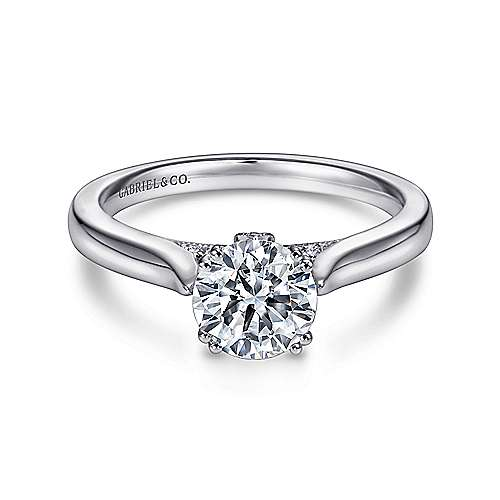 Gabriel - Cleopatra 18k White Gold Round Solitaire Engagement Ring