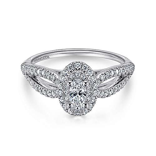 Gabriel - Clinton 14k White Gold Oval Double Halo Engagement Ring