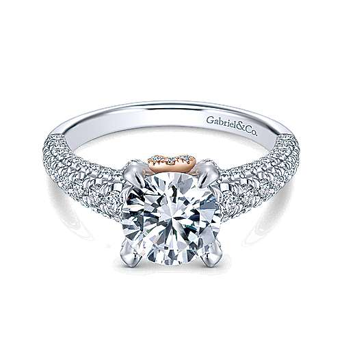 Gabriel - Clover 18k White And Rose Gold Round Straight Engagement Ring