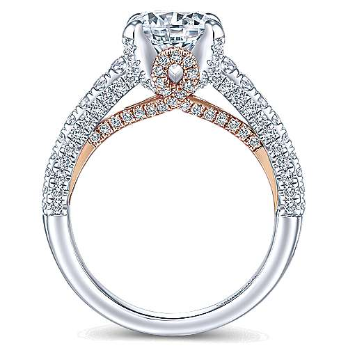 Clover 18k White And Rose Gold Round Straight Engagement Ring angle 2