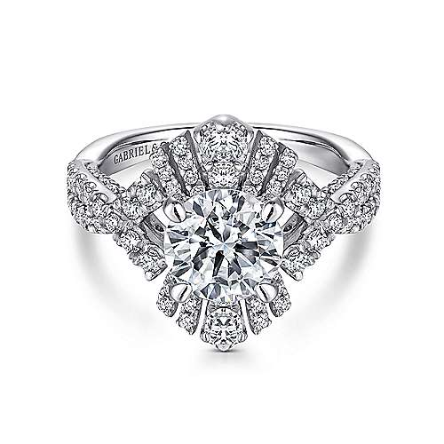 Clyde 18k White Gold Round Split Shank Engagement Ring angle 1