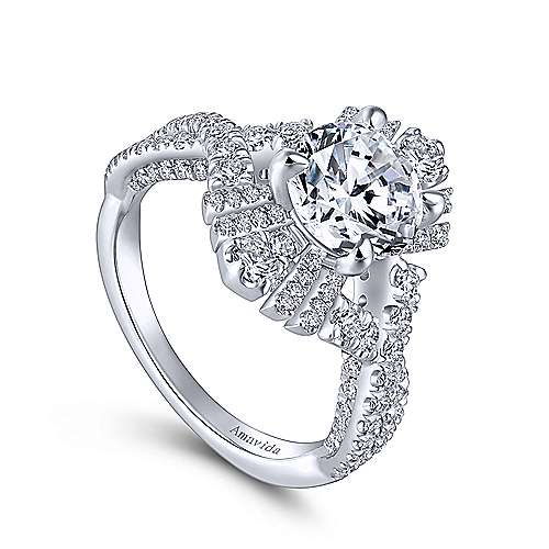 Clyde 18k White Gold Round Twisted Engagement Ring angle 3