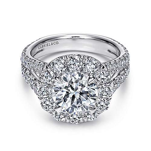 Gabriel - Coco 14k White Gold Round Halo Engagement Ring