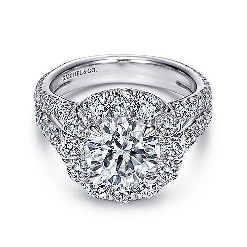 Gabriel - Coco 14k White Gold Round Halo Engagement Ring