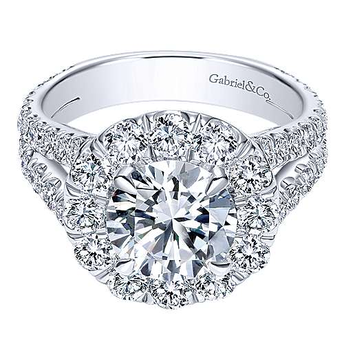 Gabriel - Coco 18k White Gold Round Halo Engagement Ring