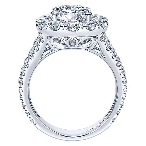 Coco 18k White Gold Round Halo Engagement Ring angle 2