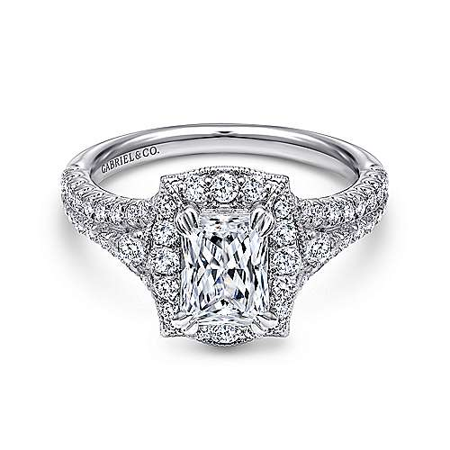 Gabriel - Colby 18k White Gold Emerald Cut Halo Engagement Ring