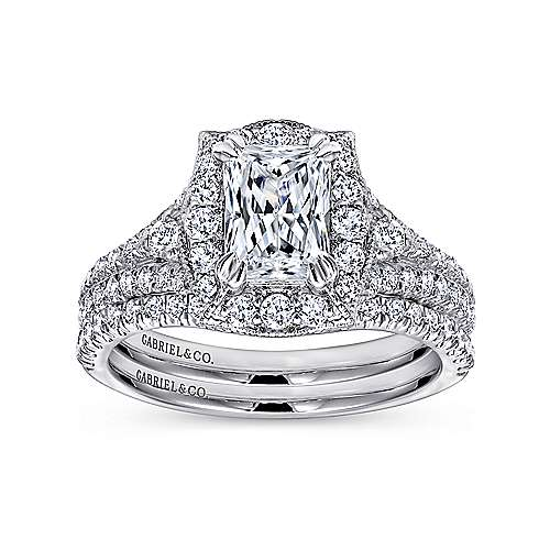 Colby 18k White Gold Emerald Cut Halo Engagement Ring