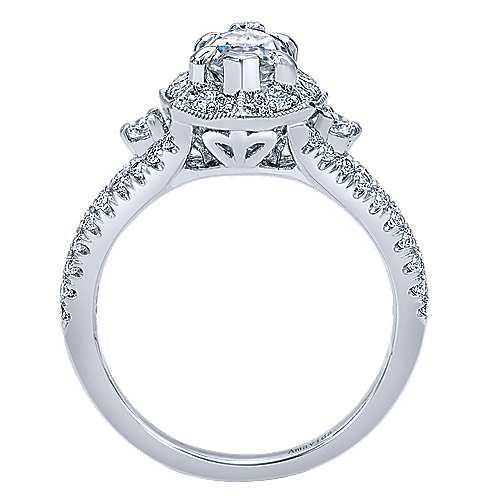 Colby 18k White Gold Marquise  Halo Engagement Ring angle 2