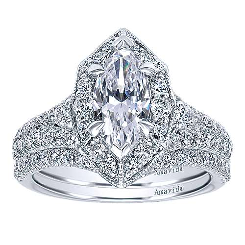 Colby 18k White Gold Marquise  Halo Engagement Ring angle 4