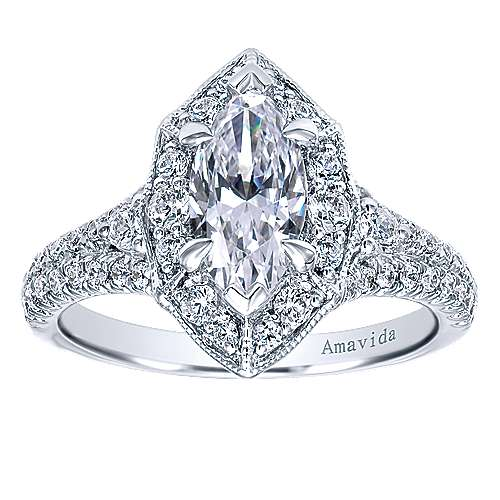 Colby 18k White Gold Marquise  Halo Engagement Ring angle 5