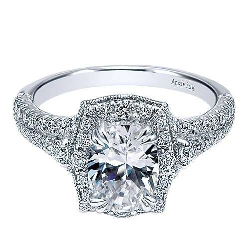 Colby 18k White Gold Oval Halo Engagement Ring angle 1