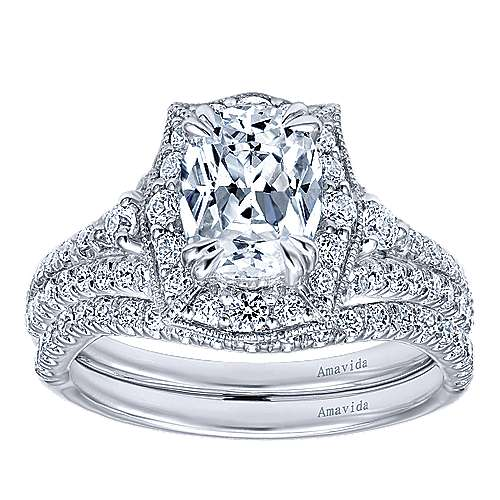 Colby 18k White Gold Oval Halo Engagement Ring angle 4