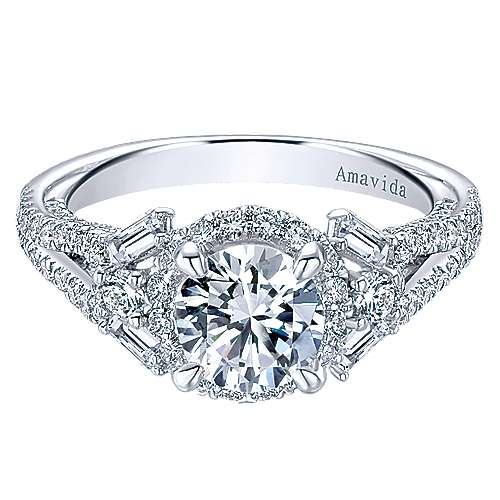 Gabriel - Colleen 18k White Gold Round Halo Engagement Ring