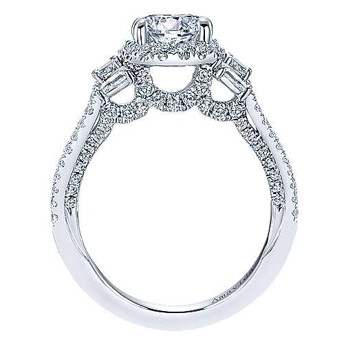 Colleen 18k White Gold Round Halo Engagement Ring angle 2