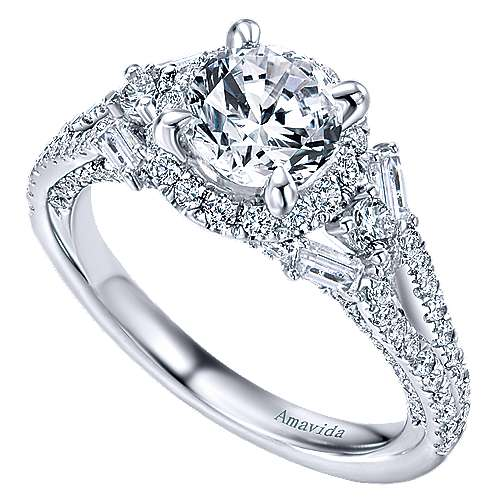 Colleen 18k White Gold Round Halo Engagement Ring angle 3