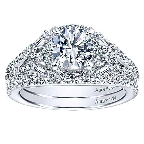 Colleen 18k White Gold Round Halo Engagement Ring angle 4