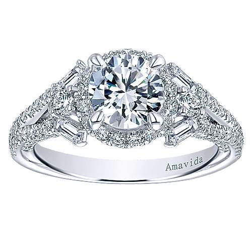 Colleen 18k White Gold Round Halo Engagement Ring angle 5