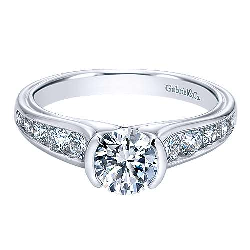 Colton 14k White Gold Round Straight Engagement Ring angle 1