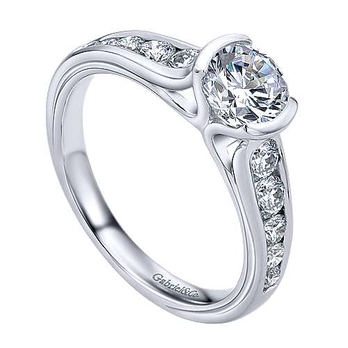 Colton 14k White Gold Round Straight Engagement Ring angle 3