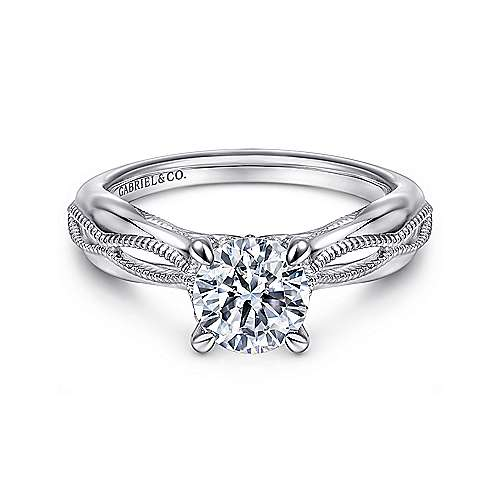 Gabriel - Commit 18k White Gold Round Split Shank Engagement Ring