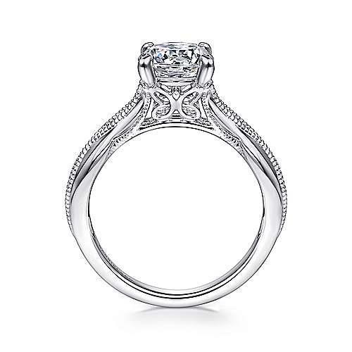 Commit 18k White Gold Round Split Shank Engagement Ring angle 2