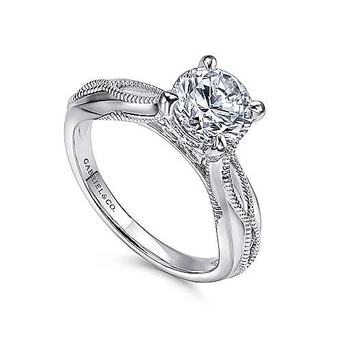 Commit 18k White Gold Round Split Shank Engagement Ring angle 3