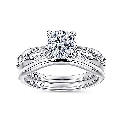 Commit 18k White Gold Round Split Shank Engagement Ring angle 4