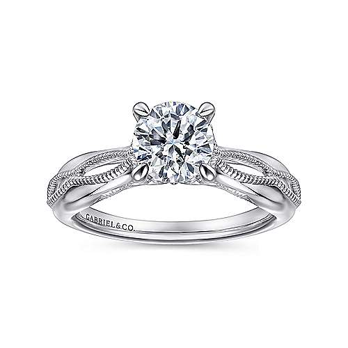 Commit 18k White Gold Round Split Shank Engagement Ring angle 5