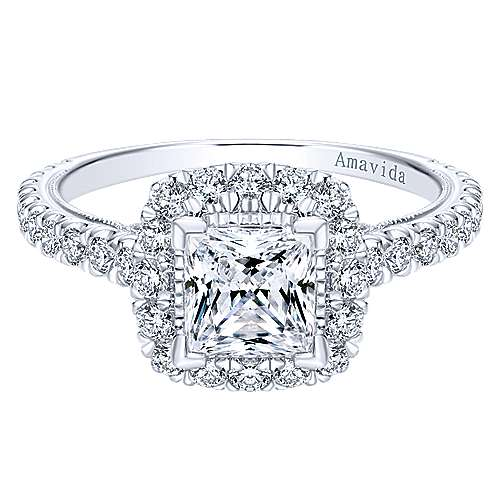 Gabriel - Compassion 18k White Gold Princess Cut Halo Engagement Ring