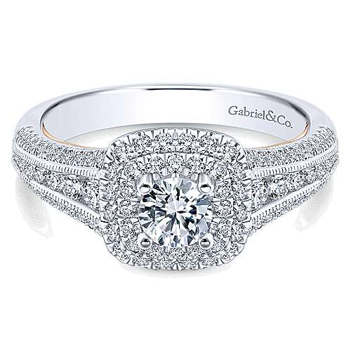 Gabriel - Confidence 14k White And Rose Gold Round Double Halo Engagement Ring