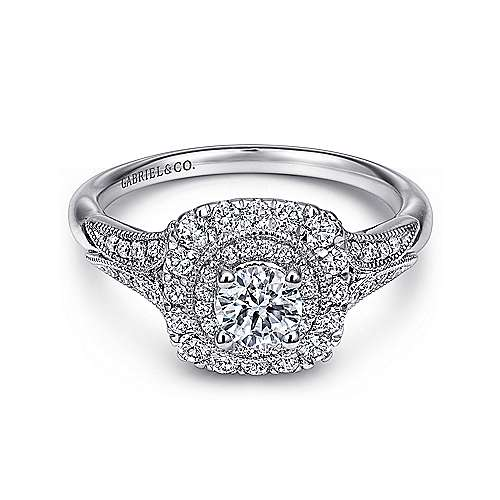 Gabriel - Connor 14k White Gold Round Double Halo Engagement Ring